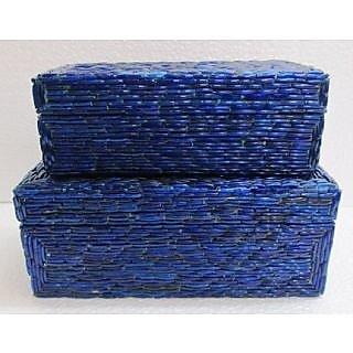 WOODEN INDIGO STORAGE BOX SET OF 2