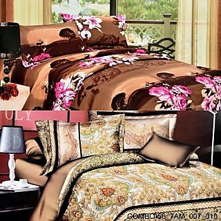 Valtellina set of 2 double bedsheet with 4 pilow covers(COMBO-56_7AM_007_010)