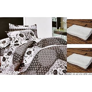 Valtellina Set of 1 Double Bed Sheet With 2 Hand Towels(Combo-18_GO-018_HTW-002)