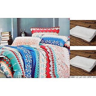 Valtellina Set of 1 Double Bed Sheet With 2 Hand Towels(Combo-23_GO-023_HTW-002)