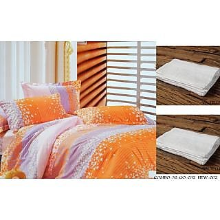 Valtellina Set of 1 Double Bed Sheet With 2 Hand Towels(Combo-32_GO-032_HTW-002)