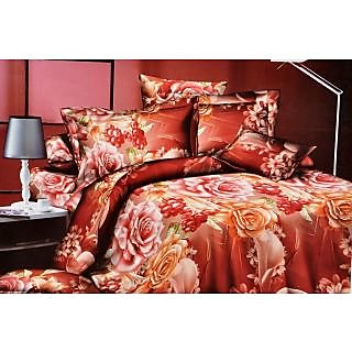 Valtellina Stunning Rose With grapes Print Double Bed Sheet (CA-009)