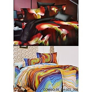 Valtellina Set of 2 Bed Sheets with 4 Pillow Covers(Combo-35_CA-003_008)