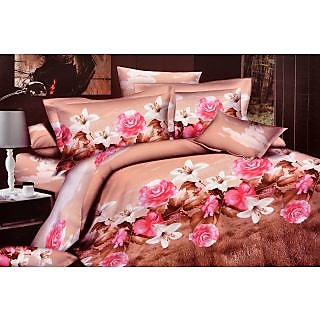 Valtellina Luscious Pink Roses With brown leavs Double Bed Sheet(CA-013)