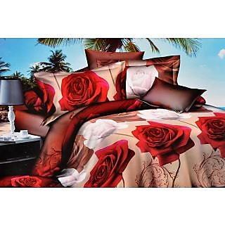 Valtellina Glorious Red & white  Roses Double Bed Sheet (CA-016)