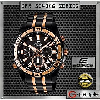 Casio Edifice Stopwatch Chronograph Multi-Colour Dial Men's Watch - EFR-534BKG-1