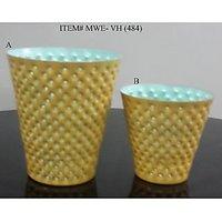 2 Pieces/set Metal Block Decoration Yellow Votive Candle Holder For Home Decorat