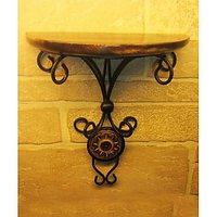 Craftsman Fancy Wood Wrought Iron Home Office Elegant Wall Decor Bracket Holder Gift Item