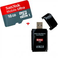 SanDisk 16Gb Micro SD, Memory Card - Class 10 ULTRA  + ADAPTER + Enter All In One Card Reader