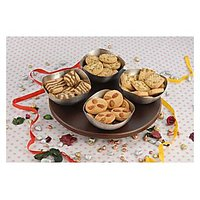 MAGPIE DESIGNER SET OF 4 BOWLS WITH REVOLVING WOODEN TRAY