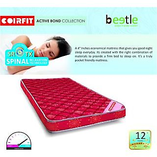 Coirfit Beetle Mattress -Single Bed - 75x48x4 Inches (LxBxH)