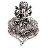 RCI Silver Big Ganesha Idol And Diya On Patta