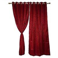 Maroon Etched Floral Printed Door Curtain