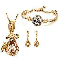 Cyan Combo Of Golden Bow Set And Golden Bracelet