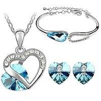 Cyan Nice Heart Shape Austrian Crystal Rhodium Plated Jewelry Set And Bracelet Combo