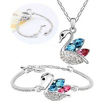 Cyan Silver Swan Shaped Pendant And Bracelet Combo