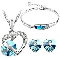Cyan Blue Heart Shape Austrian Crystal Rhodium Plated Jewelry Set And Bracelet Combo
