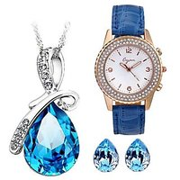 Cyan Bow Style Crystal Jewelry Set Combo With Crystal Studded Watch