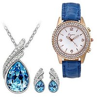 Cyan Ocean Blue Austrian Crystal Set With Crystal Studded Watch