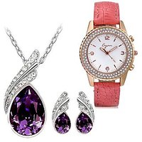 Cyan Purple Austrian Crystal Set With Crystal Studded Watch