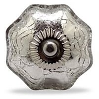 Casa Decor Crackle Glass Knob Clear (Set Of 4)