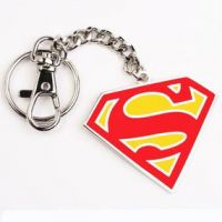 Superman Metal Key Chain Ring Fancy Metallic Chrome Plated Keychains