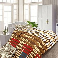 Luxe Brown And Blue Cotton Geometrical Double Bed Sheet With 2 Pillow Covers 5197BRB