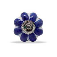 Casa Decor Ceramic Knob Blue White (Set Of 4)