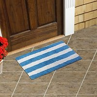Just Linen Multipurpose White And Blue Striped Cotton Floor Mat