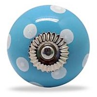 Casa Decor Ceramic Polka Dot Knobs Blue White (Set Of 4)