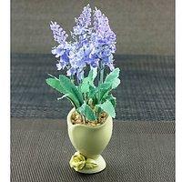 Artifical Light Blue Flower With Ceramic Pot