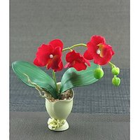 Artifical Nice Red Flower With Ceramic Pot
