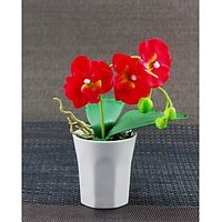 Artifical Pretty Red Flower With Ceramic Pot