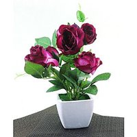 Artifical Nice Purple Flower With Ceramic Pot