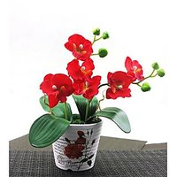 Artifical Red Flower With Ceramic Pot