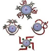 Aluminium Table Diya Set(Pack Of 4)