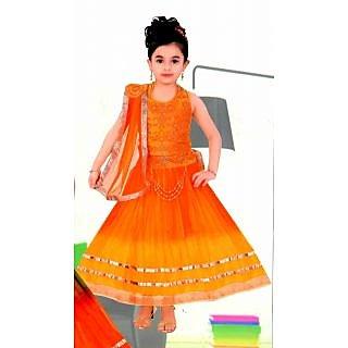Kids dresses baby Clothing stylish Lehenga Choli orange 3 4 5 6 7 8 Years