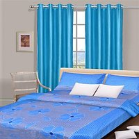 Combo Pack Of Cotton Double Bed Sheet With 2 Pillow Covers & 2 Curtains