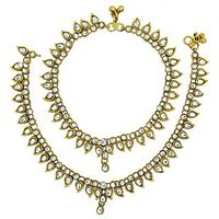 The Jewelbox Antique Traditional Kundan Look Payal Anklet Pair
