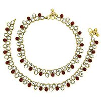 The Jewelbox Antique Traditional Ruby Pearl Kundan Look Payal Anklet Pair