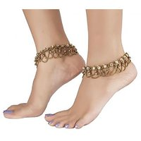 The Jewelbox Anique Gold Plated Kundan Traditional Payal Anklet Pair