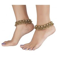 The Jewelbox Anique Gold Plated Kundan Traditional Payal Anklet