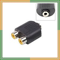3.5 mm stereo Female To 2 RCA Female Adapter coupler
