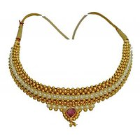 Womens Trendz Fancy Broad Moti Thushi Necklace