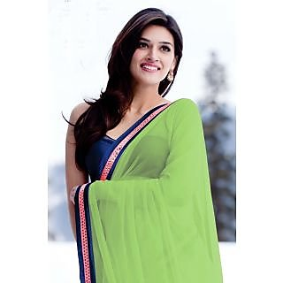 Green Raw Silk Solid Saree With Blouse