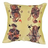 4 Playing Card Cushion Covers Digitally Printed In Yellow Color