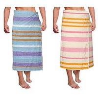 JBG Home Store Combo Of 2 Stripes Design Bath Towel ( Set Of 2)