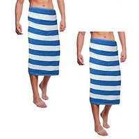 Deal Wala Stripe Design Cotton Bath Towel -blue