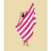 Deal Wala Stripe Design Cotton Bath Towel-pink