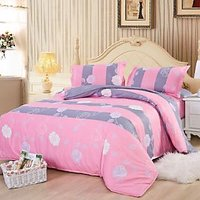 USA Luxury Vibrant Pink Double  Comforter Set, 4 PCS, Duvet Cover, Bed Sheet